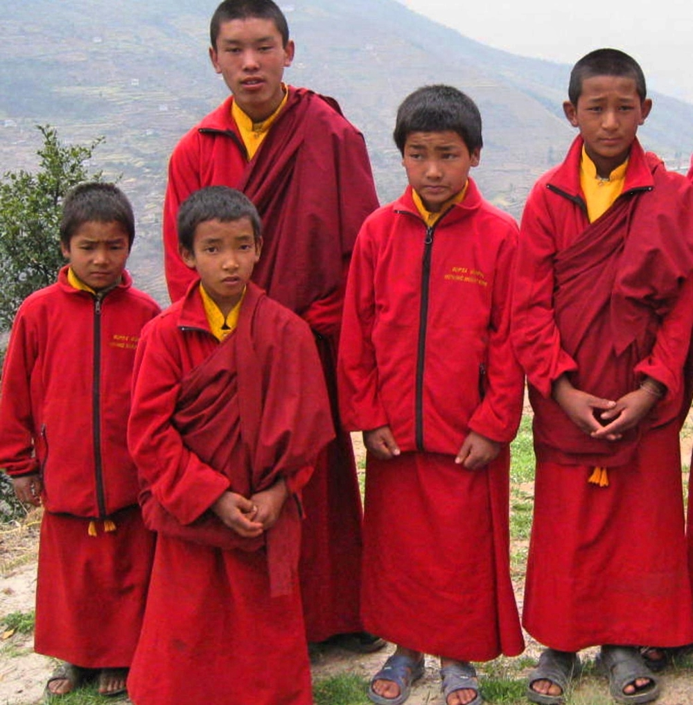 Student Buddhist Monks in Bupsa village Solu Khumbu Nepal