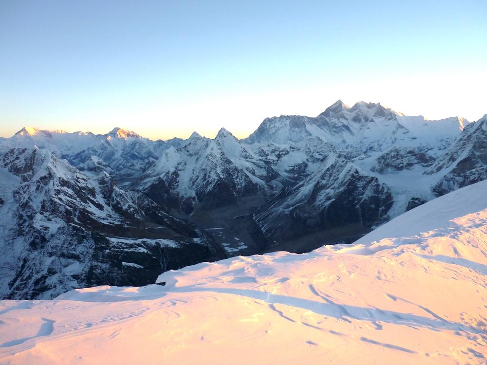 Mera Peak view across to Everest at dawn