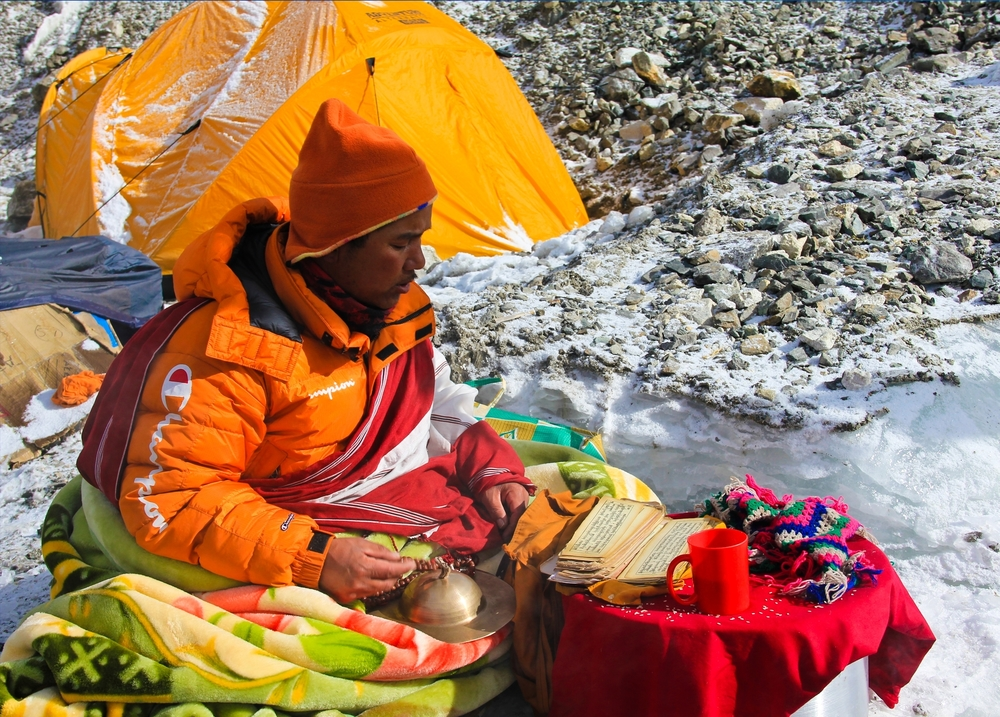Lama blessing an expedition at the Base Camp