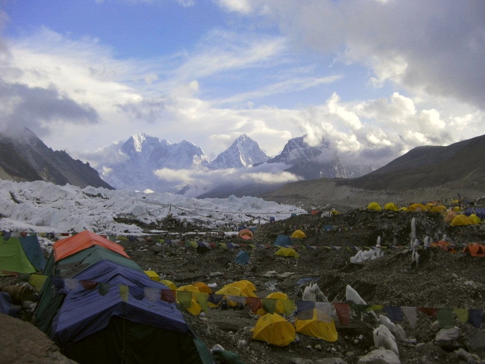 Looking down to Khumbu from Base Camp