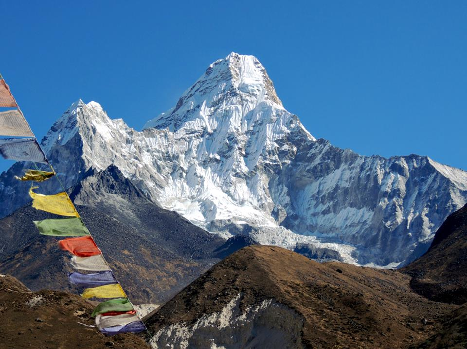 Ama Dablam with praying flags