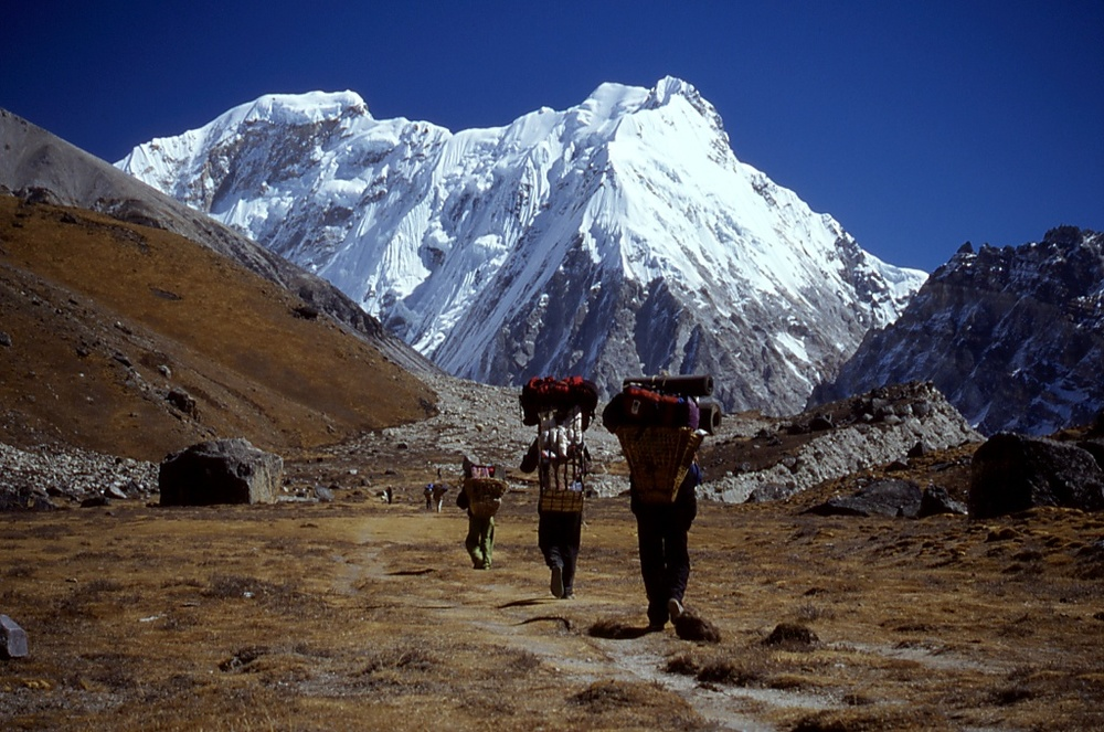 Porters in front of Tent Peak
