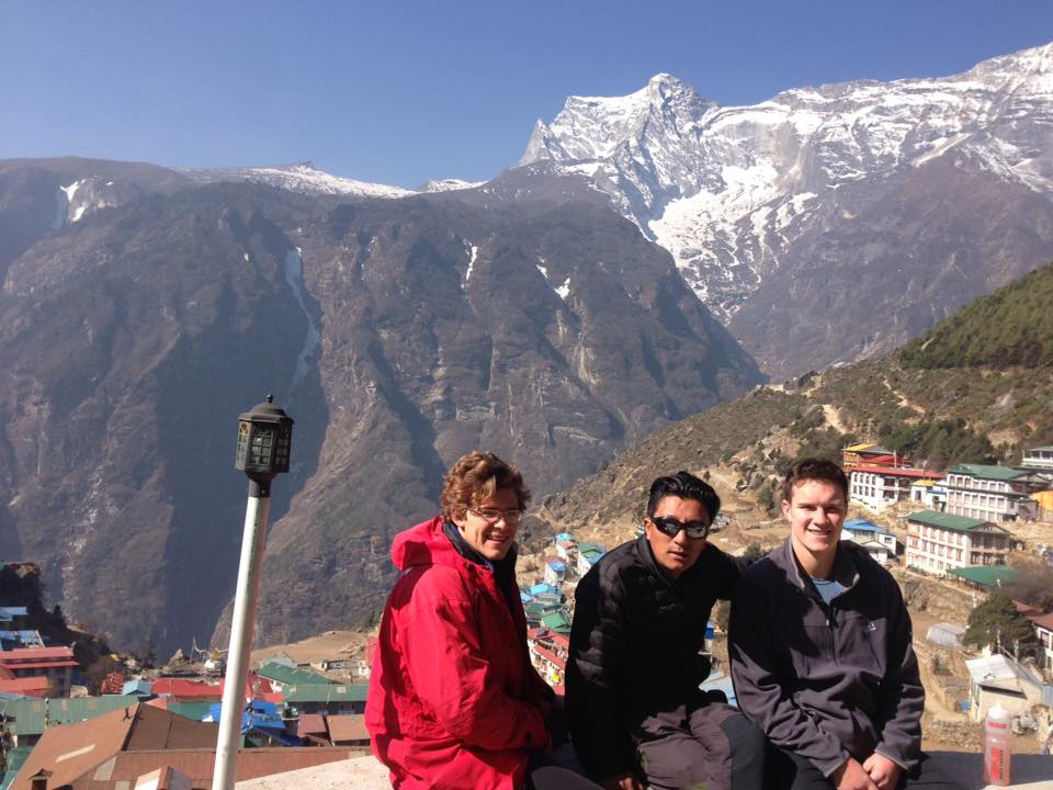 Enjoying the sun in Namche Bazaar