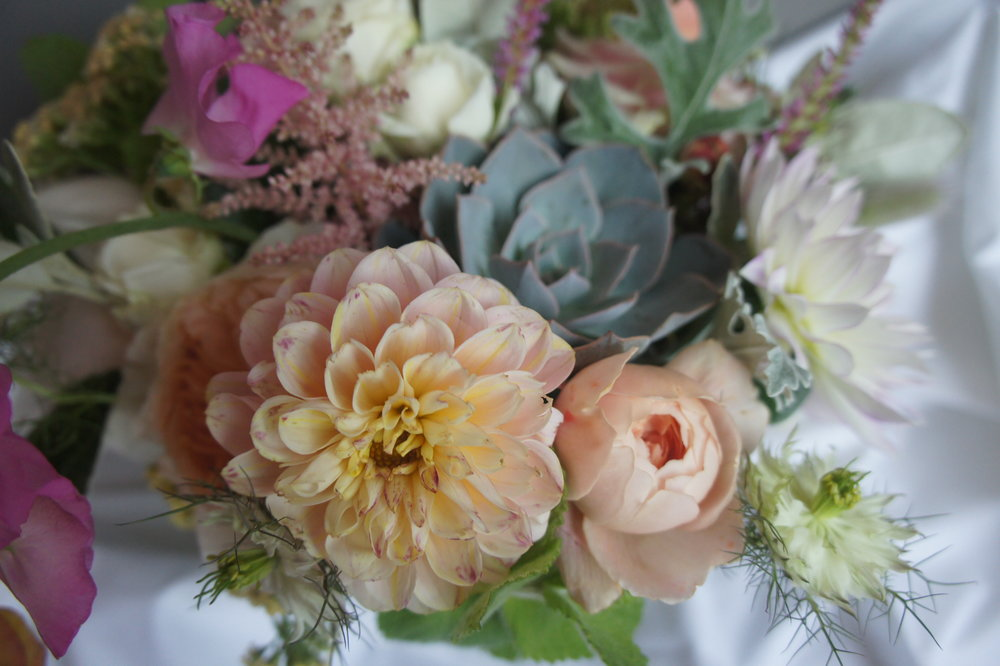succulent bouquet in pastel