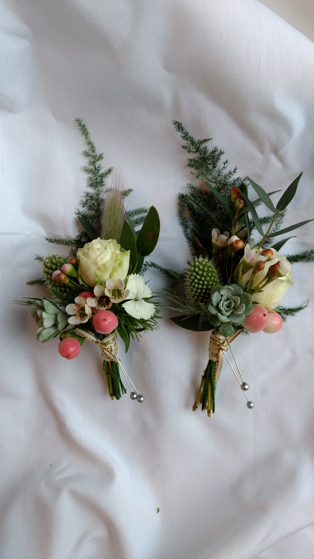 wildflower wedding succulent buttonhole