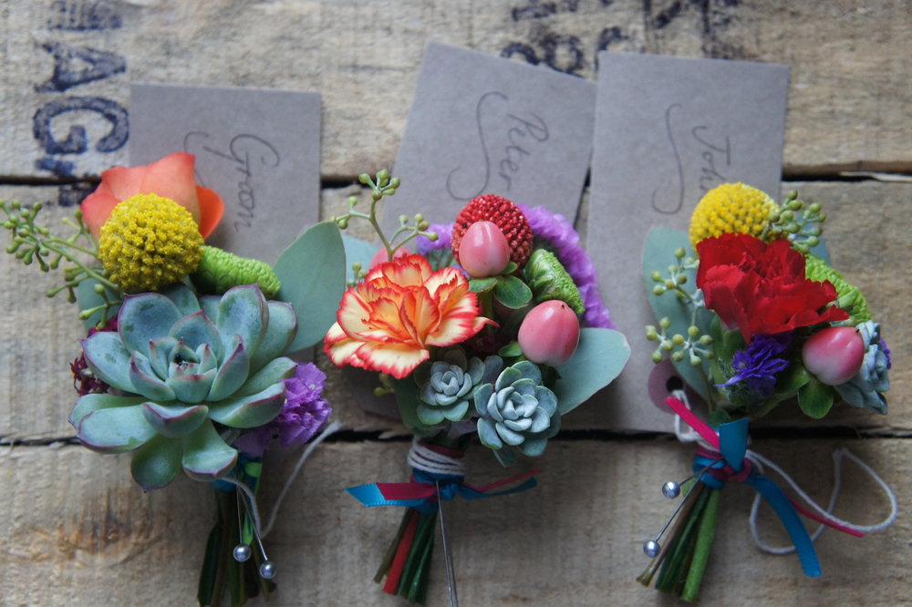 colour pop succulent buttonhole
