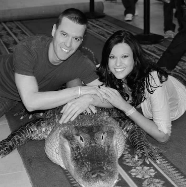 "Nick Helble and Megan Wiles pictured with Jim Nesci's ""Bubba"", who can't seem to get enough Reptilinks!"