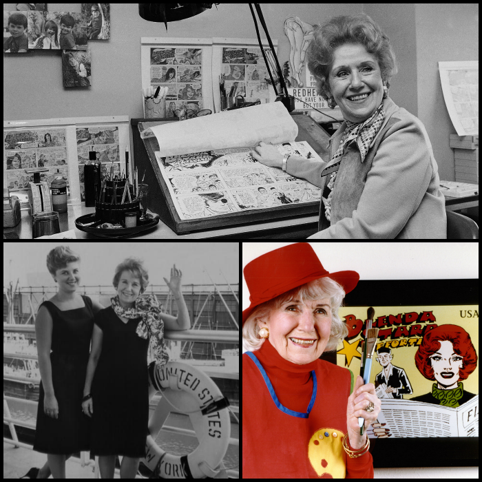 Top: Where the magic happened--Dale Messick at her drafting desk; Left: Bon Voyage with daughter Starr; Right: Celebrating the Brenda Starr U.S. postage stamp.