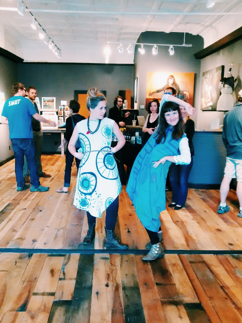 My musical accomplice, Miss Renee of @FrolicChocolate faux-modeling @NellieRose raw silk frocks at ArtSpring in West Virginia.