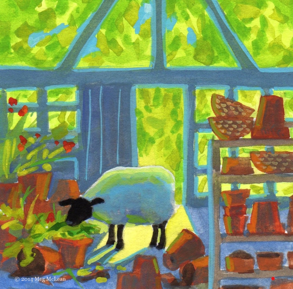 Meg McLean potting shed sheep