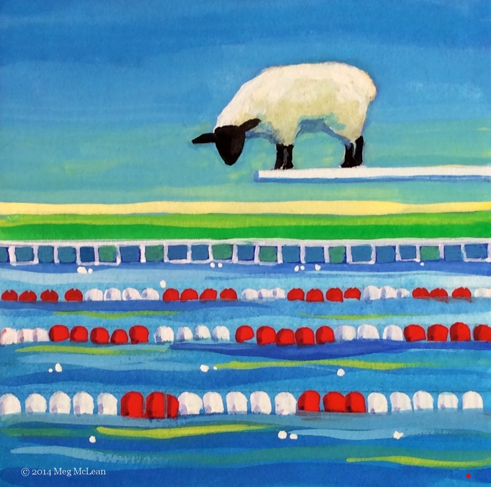 Meg McLean diving board sheep