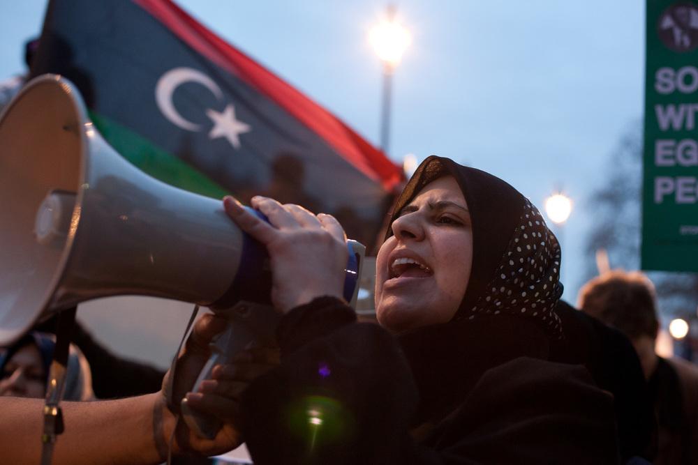 Anti-Gaddafi Protest, Downing Street, London