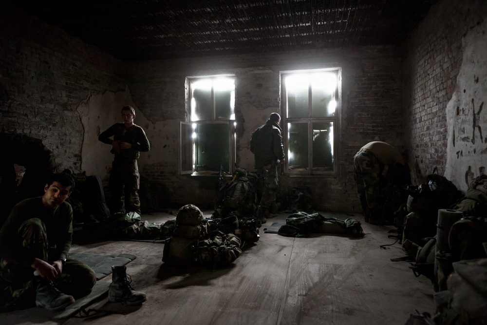 Royal Marines of 42 Commando prepare  for a patrol at FOB Imber on exercise Final Nail. This annual 10-day exercise is designed to encompass all the skills learned during their 15 months of training and is the last for the Royal Marines Young Officers before their passing out parade and deployment.