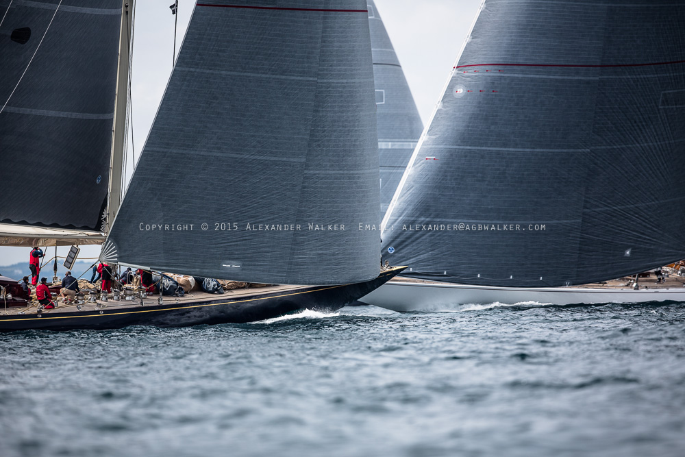 J Class Yachts Lionheart, Ranger and Velsheda rancing agianst either other in the 2015 Falmouth J Class regatta.