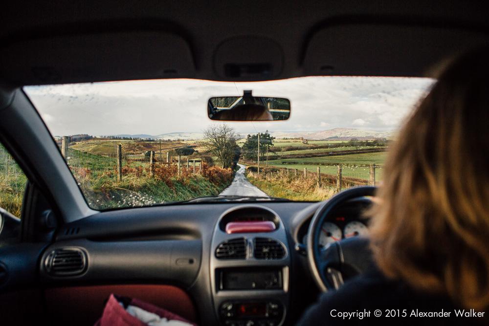 Francesca Cassini driving towards Llanidloes.