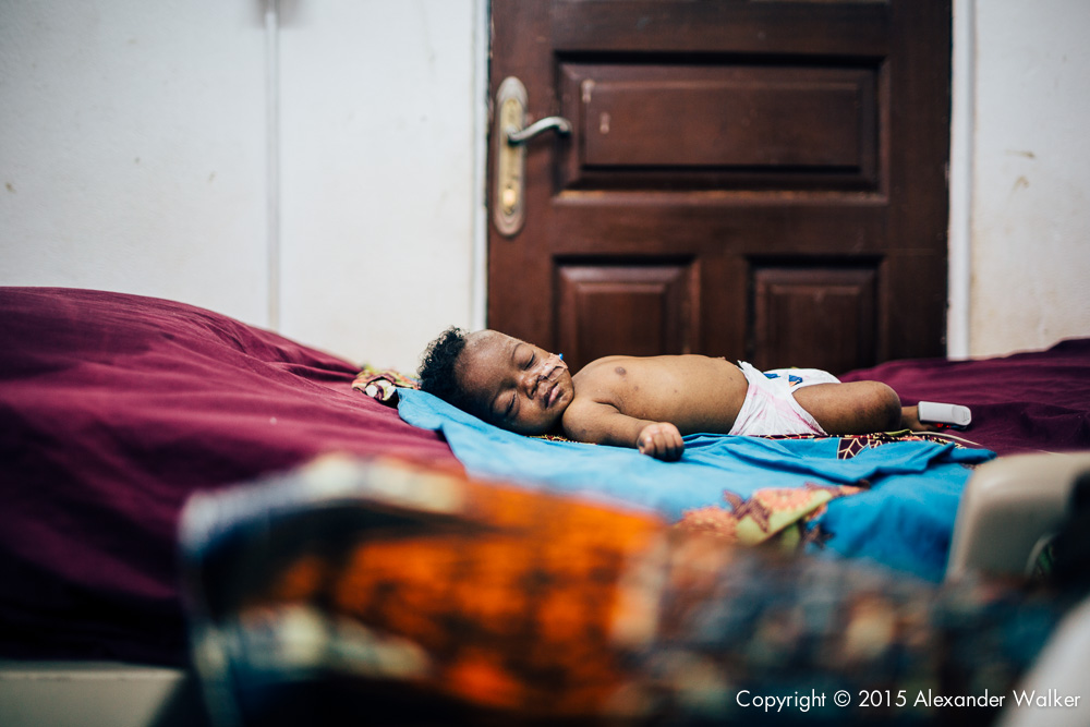 Wahidnatu Sessay (2 months old), in the intensive care unit of the During Childrens Hospital, GAVI Alliance.  Comic Relief has funded GAVI since 2012 and awared funds in 2014 to purchace and deliver three lifesaving Vaccines to hundres of thousands of children in a selected number of African countries.  Immunisation is one of the most effective ways of preventing children from dying from diseses.  In africa alone, 600,000 children each year could be saved in vacccine programmes  were fully implemened.  Most countries have now introduced immunisation programmes in their national health plans, but almost a quater of african children are stil not being vaccinated adequately.