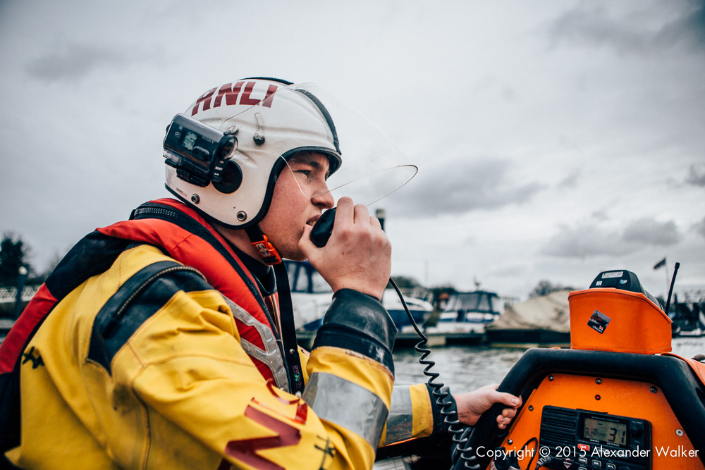 Harry Eaton, Volunteer Crew at Teddington Lifeboat Station RNLI onboard the station's Class D Lifeboat on a training exercise.
