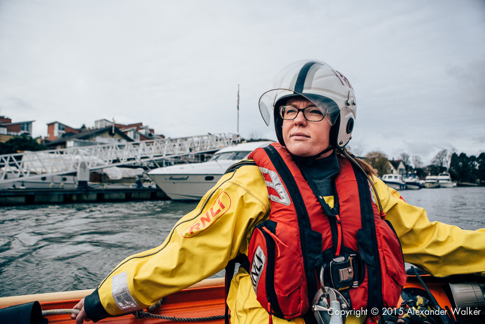 Kay Whittaker, Volunteer Crew at Teddington Lifeboat Station RNLI onboard the station's Class D Lifeboat on a training exercise.