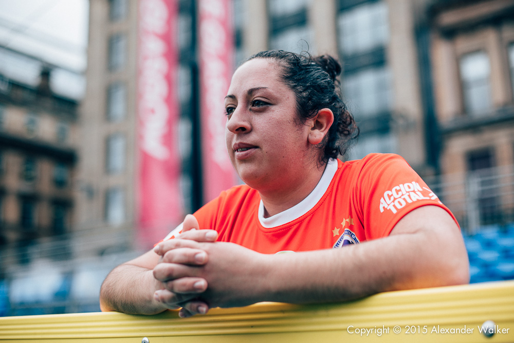 Deborah Alberez from Team Chile after winning their match against England at the Homeless World Cup. The Homeless World Cup is a unique, pioneering social movement which uses football to inspire homeless people to change their own lives. Homeless World Cup 2016 is taking place in Glasgow's George Square from July 10th to July 16th. For more information, visit www.homelessworldcup.com