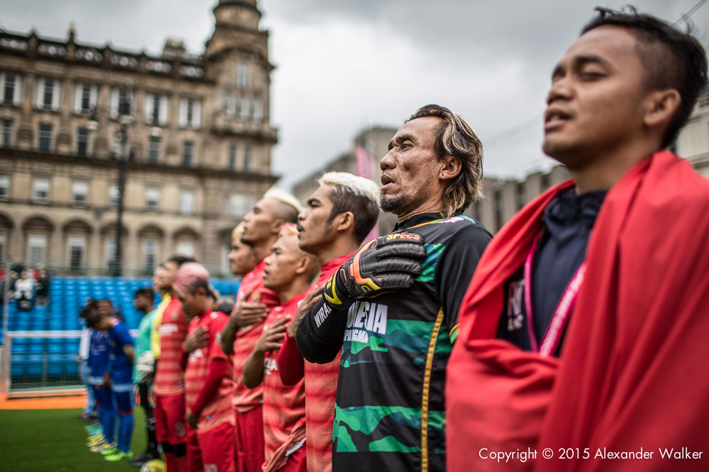Players in the Homeless World Cup tournment, in Glasgow George Square.