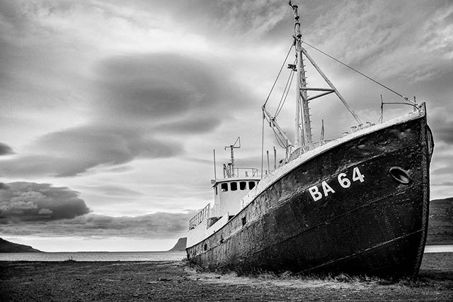 Garðar BA 64 - Westfjords, Iceland • • • • #visiticeland #fishingboat #landscapelovers #westfjords #bnw_society #bw_lover #fineart_photobw #blacknwhite #urbanexploring #bnwmood #bnw_life #abandonedplaces #bw_perfect #bnw_captures #mycanon #calming #nature #explore #instadaily #photojournalist #picoftheday #lifestyle #clarity #adventure #drama #adventure #outdoors #hiking #mystopover