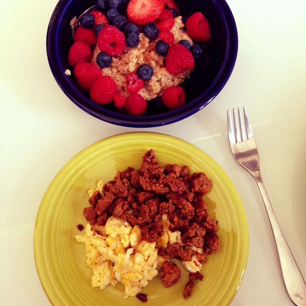 Homemade Turkey sausage, eggs, steel oats, berries
