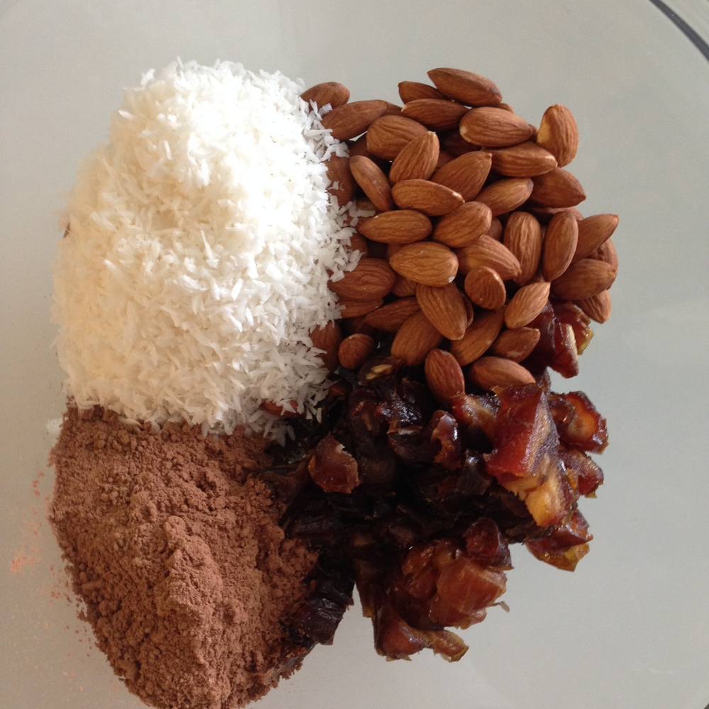 Almonds, dates, coconut, cocoa powder