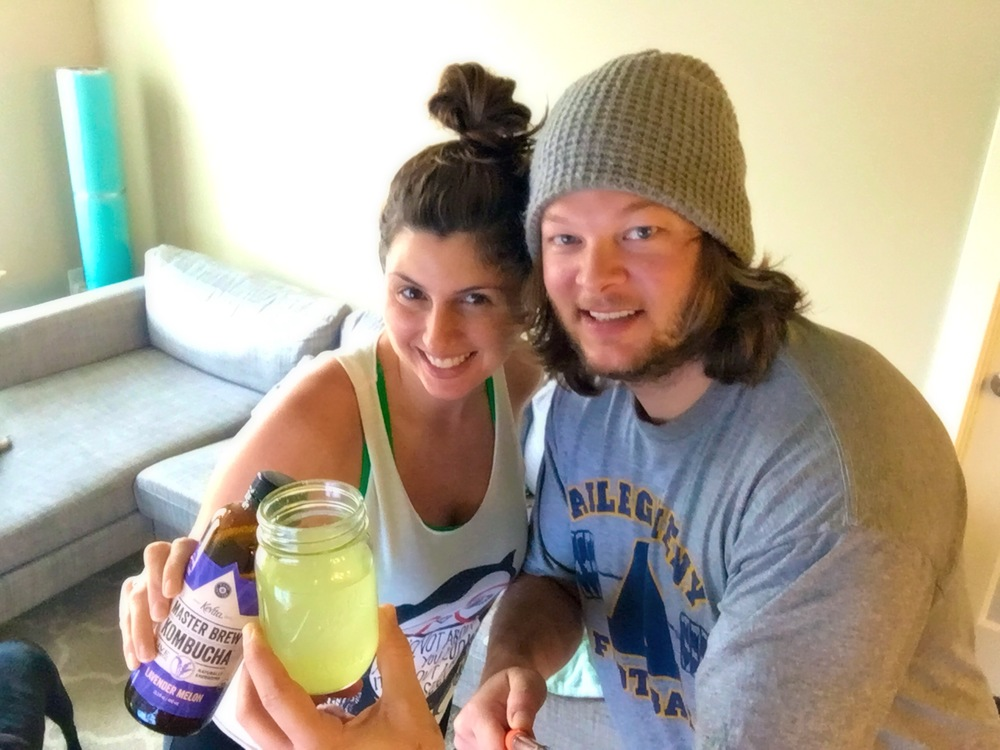 getting ready to do dirty 30!  Sean has his Energize pre-workout drink and I've got my kombucha.