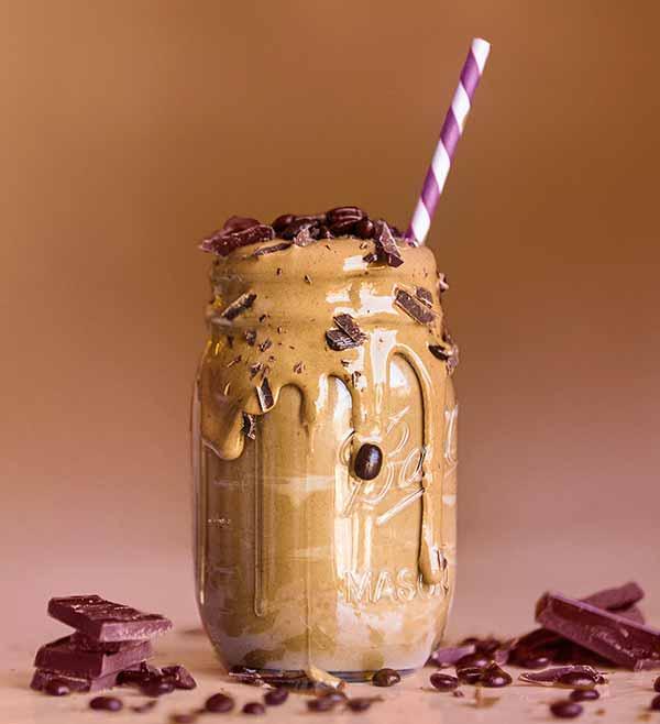 Vegan mocha caramel latte