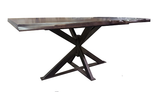 This Live Edge Table In Ambrosia Maple Offers An Industrial Look With This  Uniquely Designed Steel