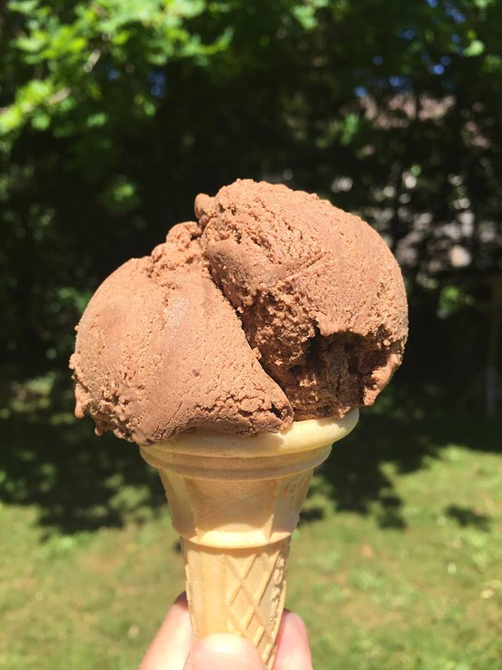 Homemade chocolate ice cream straight from the freezer!