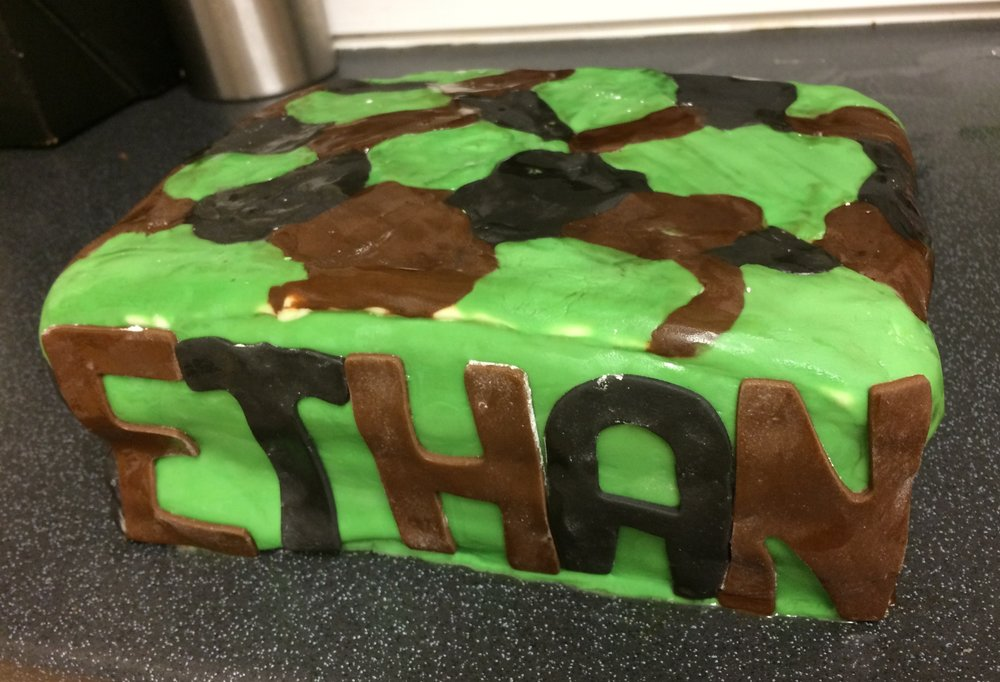 Military themed birthday cake - the camouflage icing was easier than I thought