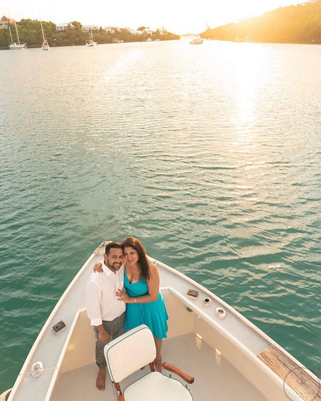 Big congrats to Rachel (@urban_milan) & Dhaval on their recent engagement! Dhaval popped the question aboard my honey's boat (@earlybirdchartersbermuda) during a Vacation Photos at Sea session! Good time with these two!  Be sure to check out Rachel's feed on @urban_milan; awesome travel tips!