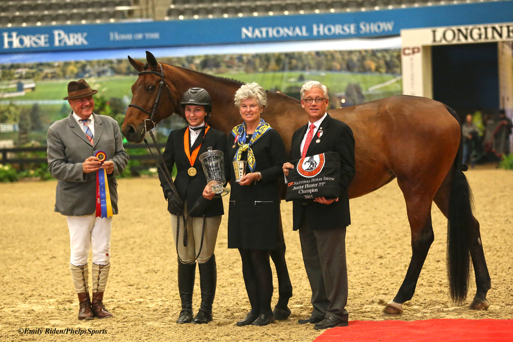 """Alex Trolli and Hey Sailor were champions in the Junior Hunter 3'3"""" division at the CP National Horse Show"""