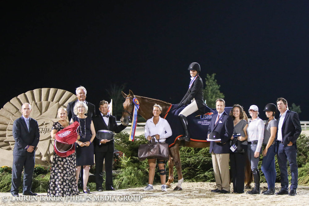 Miss Lucy and Kristy Herrera earned the 2016 USHJA International Hunter Derby Championship.