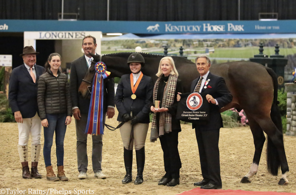 "Grand 3'3"" Junior Hunter Champions Emma Walters and Crisp"