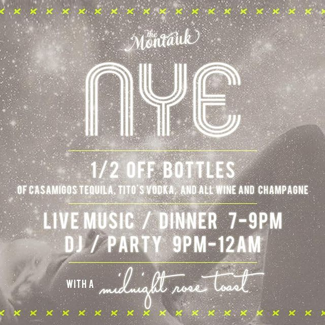 Join us NYE for 1/2 off bottles of Tito's, Casamigos, and all champagne and wine. Then our annual rosé toast at midnight 🥂 call to reserve your table!