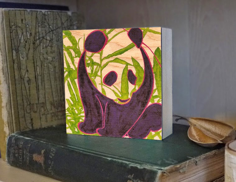 Disappearing Panda - 5x5 print on panel