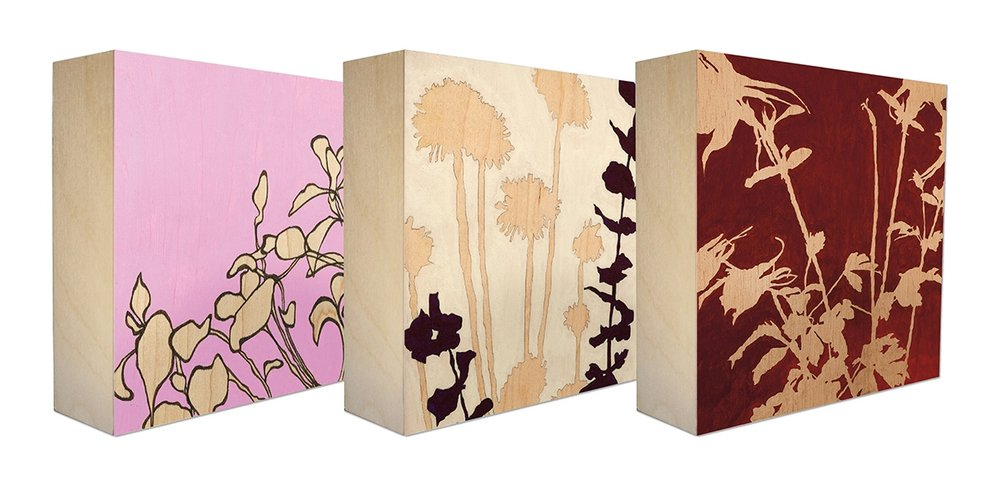 Summer Life - Set of 3 botanical art blocks