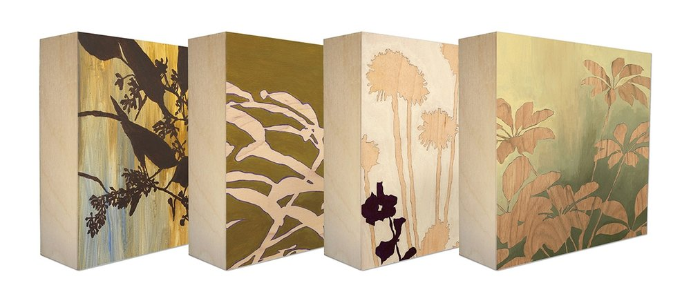 Outdoor Beauty - Set of 4 botanical art blocks