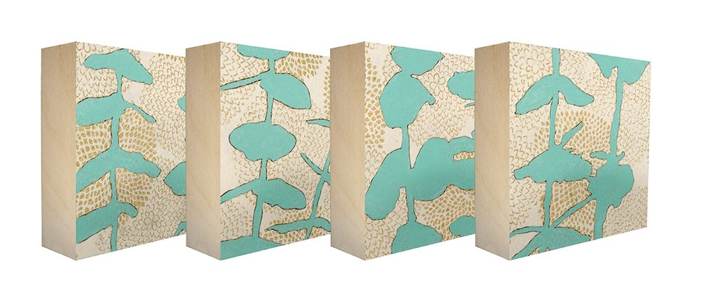 Sprouts Teal - Set of 4 botanical art blocks
