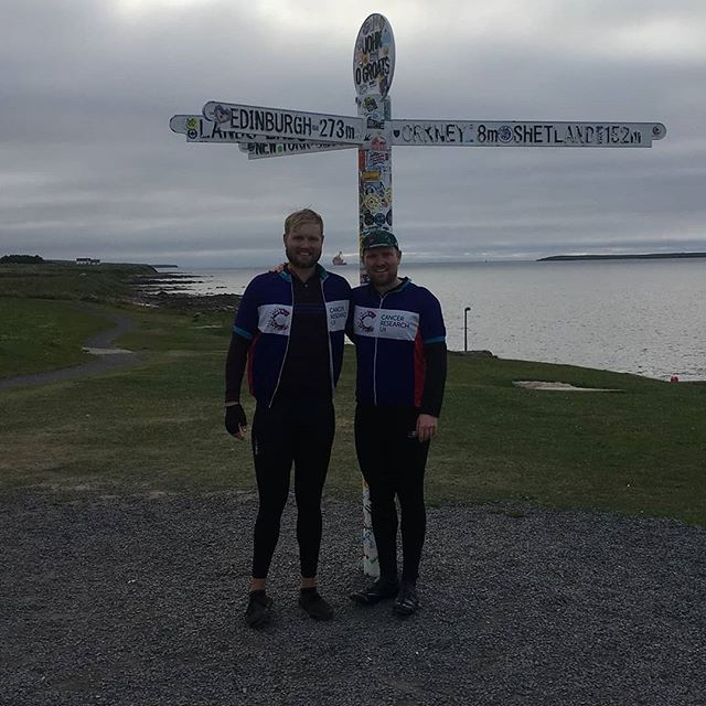 Arrived in John O'Groats last night after cycling for 2 weeks straight. A massive thank you to everybody that has donated, the total is just over £2,000 for @cr_uk.