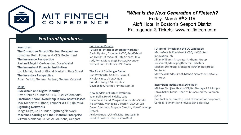 2019 MIT Fintech Conference Agenda — MIT FinTech