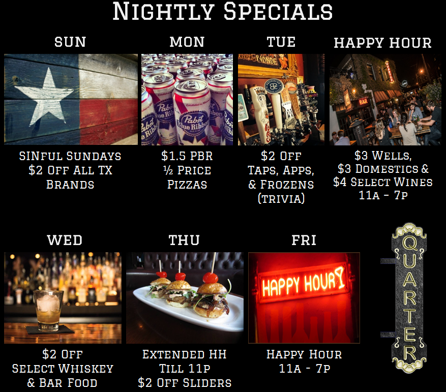Quarter Bar Dallas Nightly Specials.png