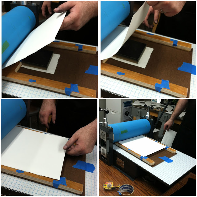 The blank paper goes onto the inked surface of the block.