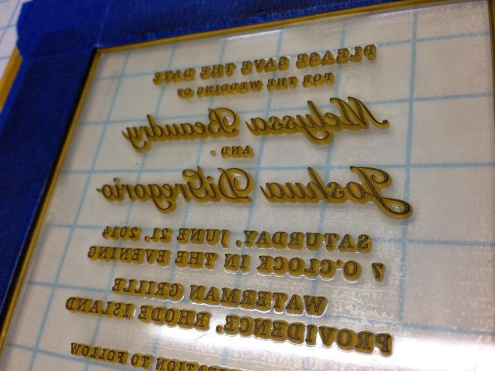 Inked invitation plate.