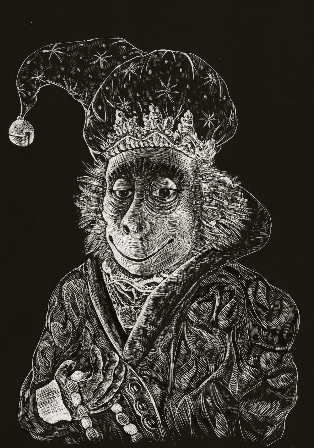 Here is the portrait of the Christmas Monkey. He's modeled after a figurine the author provided.