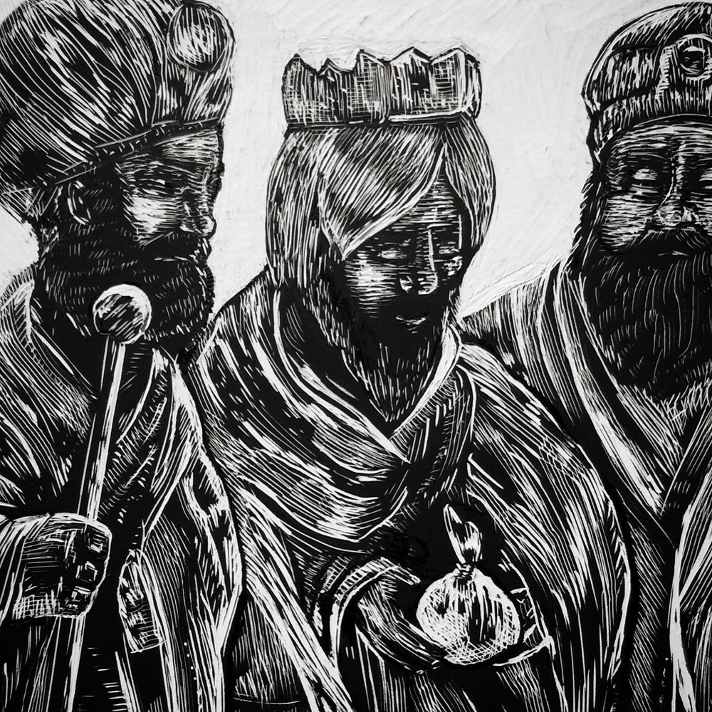 I also made an illustration of the Magi, or Three Wise Men.