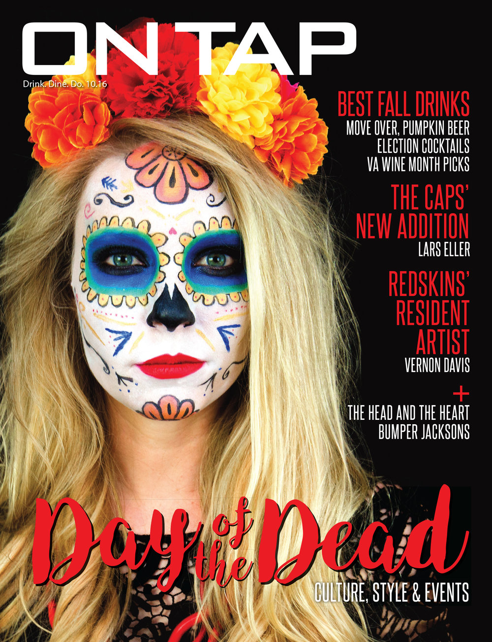 "LG Photography shot the cover of On Tap Magazine for their 'Day of the Dead"" themed October 2016 issue"