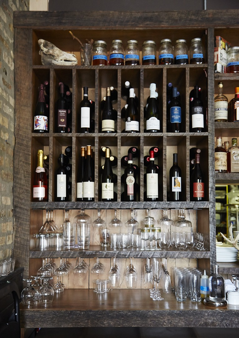 Table, Donkey and Stick Back Bar Shelving
